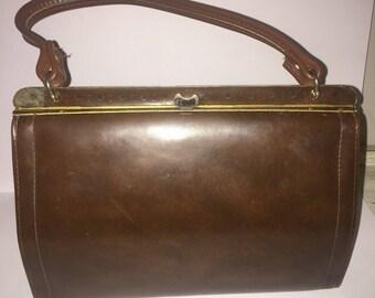 Vintage Mid Century Brown Kelly Bag - Top Handle Handbag