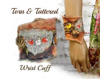 Textile bracelet -fiber art cuff - Tattered textile cuff - Fabric bracelet - Boho cuff - fabric cuff - trendy jewelry - # 232