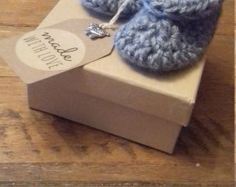 Grey baby shoes Hand crochet First size, and sheep charm tag