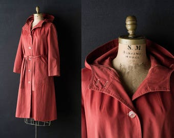 Orange Trench Coat - Forecaster International Rust Hooded Parka / Duster - Women's Medium