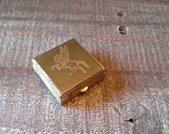 Vintage Metal Pegasus Compact / Snuff Box / Pill Box