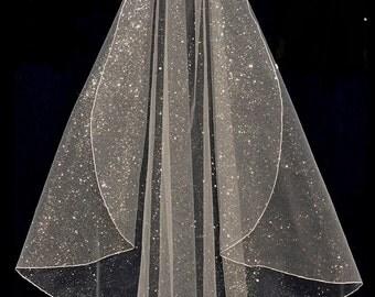 Sparkling Glitter Glamour Tulle Fingertip, Chapel, or Cathedral Length Wedding Veil
