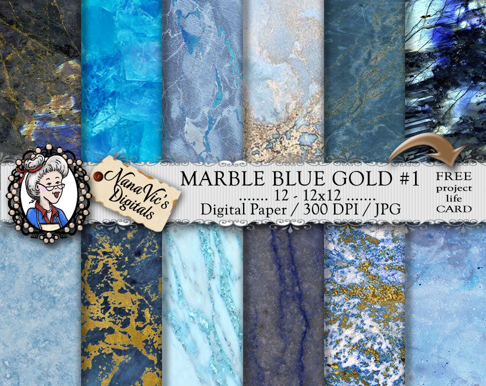 Marble Digital Paper Blue Marble With Gold Veins Marble