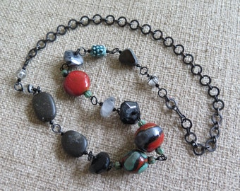 black and red necklace, turquoise and red necklace, boho necklace, statement necklace, chunky necklace, unique necklace, dark necklace, gift