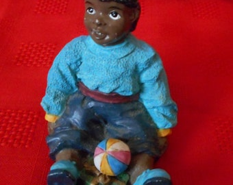 Little Brown Boy with Ball Resin Figurine AfricanAmerican Black Art
