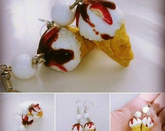 Earrings ice cream - earrings with ice cream - ice cream with chocolate - earrings with sweets - cute ice cream