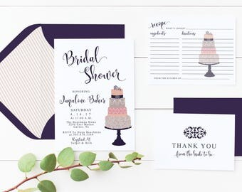 Bridal Shower Invitation Wedding Cake Printed Or Print Yourself Digital Invite