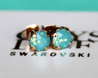 Rose Gold Stud Earrings made with Pacific Opal Swarovski Crystal Elements and Surgical Steel Posts by LadyCJewellery