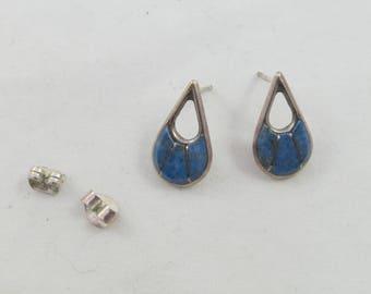 "Zuni Sterling Silver Blue Stone Earrings signed ""SEC"" Post Backs"