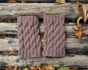 Boot cuffs, Hand Knitted Wool Boot Cuffs #5,  TAN Boot Cuffs, Leg Warmers, Boot Toppers