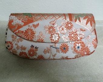Vintage Japanese Clutch Bag w Wristlet Mirror and Change Purse Orange & Gold