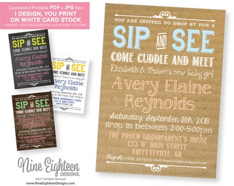 Sip and See INVITATIONS. Girl or Boy, choose your colors & background. Customized Printable PDF and JPG file.