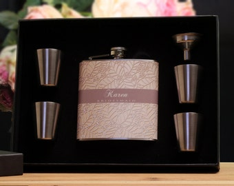 4 Bridesmaid Gifts, Personalized Flask Gift Set for Bridesmaids, Wedding Party Gifts, Brown,Tan