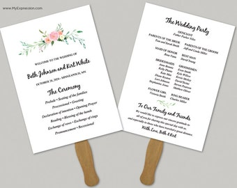 Watercolor Floral 5x7 Wedding Program Fan Template (9062) - INSTANT DOWNLOAD Template - Ready to Print - Editable PDF