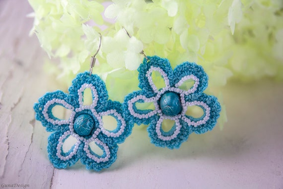 Crochet Flower Dangle Earrings with Beads