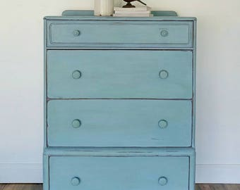 SOLD EXAMPLE.............Annie Sloan Chalk Painted Chest Of Drawers/ Bedroom Dresser Furniture/Seaglass blue beach look/nursery