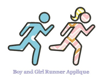 BOY and GIRL RUNNER Appliqué - Machine Embroidery - Instant Download - Multiple Sizes - Separate Files