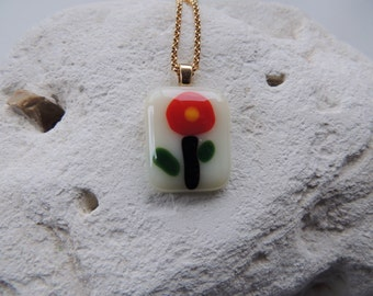 Fused glass necklace,red rectangle flower pendant necklace,flower necklace for her