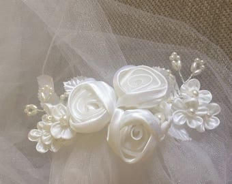 Wedding hair accessory-bridal headpiece,flower comb veil,bride tulle veil,bride hair, veil fascinator