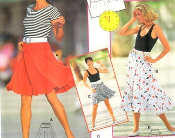 Burda 4511, Sz 8-18. Misses Circle Skirt in 2 lengths with yoke, Burda Express pattern with directions in English/French