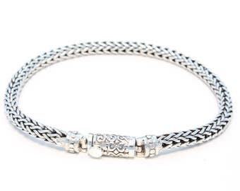 Narrow ornament clasp 925 silver bracelet