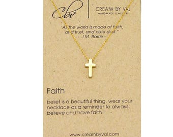 Faith Pendant Necklace-Dainty Gold Tiny Cross Christ Necklace Faith In God Inspiring Necklace Godchild Baptism Necklace Cross Necklace Women