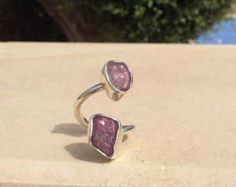 Dual Gemstone Raw Ruby Silver Ring, Double Gemstone Ring, Double Stone Ring, Raw Ruby Ring.