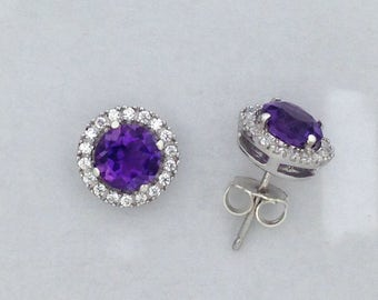 Natural Amethyst with White Topaz Stud Earring 925 Sterling Silver