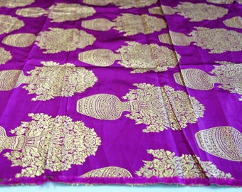 Fine art silk fabric in  magenta with gold flower vase jacquard