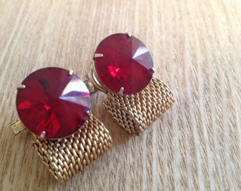 Unique vintage wrap around cufflinks detailed mounting and red crystals