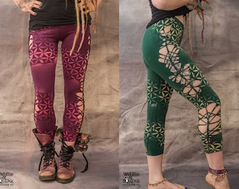 WEAVE LEGGINGS Flower Of Life Pixie Fairy Psytrance Festival Hippy Goa Lycra