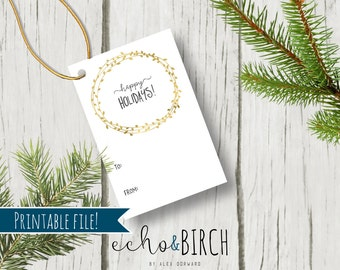 """PRINTABLE 2x3 Christmas Gift Tags - """"Happy Holidays!""""   Floral Wreath   Instant Download   Printable Stationery & Planner Supplies"""