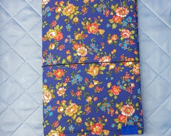 Blue Floral Fabridori Traveler's notebook Midori Style Journal cover with a cotton flower print fabric