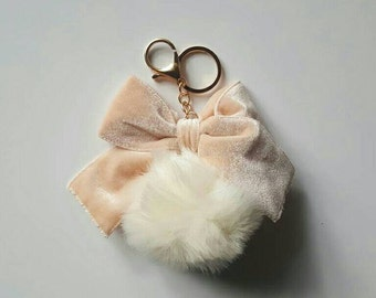 Pretty Puff Fur Keychain with Bow
