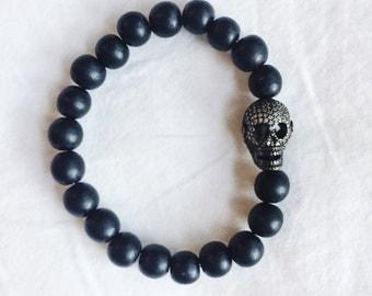 Pave Skull and Black Wood Bead Stretch Bracelet