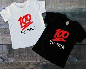 100th Day of school, 100 Days Smarter, 100 Days of School, 100 Emoji shirt, Youth 100 Emoji, Youth Emoji shirt, School Shirt, Back to school