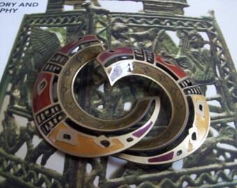 Berbi multi color large enamel earrings vintage hobo