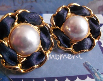 Vintage Chanel Iconic Pearl And Leather Earrings
