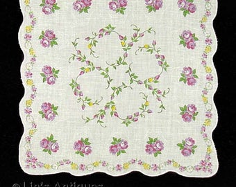 Vintage Purple Roses Handkerchief (Inventory #M3094)