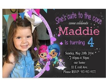 Shimmer and Shine Birthday Invitation, Shimmer and Shine Birthday Invite, Shimmer and Shine Invitation
