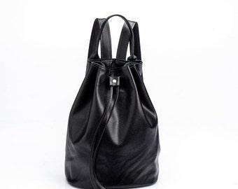 Black Leather Backpack, Handmade Backpack, Women Backpack, School Backpack, Soft Leather backpack, Sale!
