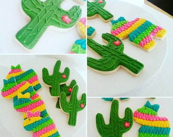 Pinata and Cactus Fiesta Cookies (1 dozen)