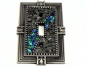 Mosaic Switch Plate - Light Switch Cover - Single Switch Plate - Blue Switch Plate - Silver Switch Plate - Light Cover