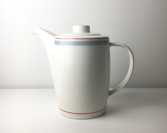 "Vintage Arabia Finland  coffee pot named ""Domino Bistro"" by Kati Tuominen-Niittylä / Pekka Paikkari, 1980s - Made in Finland"