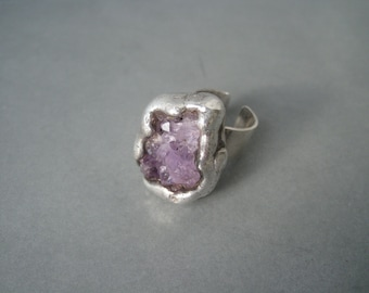Massive spectacular brutalist sterling silver ring decorated with cluster amethysts, Denmark.