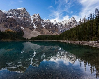 Moraine Lake Photography, Banff National Park, Lake Louise, Photo Print, Glacier, Alberta, Reflection, Canada, Wall Decor, Forest, Nature