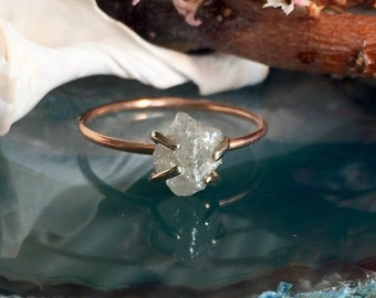 Natural Rough Diamond Ring, Raw Diamond Ring, 14k Rose Gold Engagement Ring, 14k White Gold Setting, Alternative Engagement Ring Ecofriendly