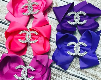 Little girls couture hair clips. 6 inch ribbon bow clips. Coco chanel inspired hair clips.