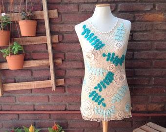 Crochet top, crochet lace top, irish crochet blouse, irish lace top, crochet tunic, halter top, summer clothes, fashion crochet blouse shirt