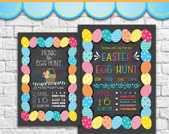 Easter Egg Hunt Invitation 1 - PDF JPG Instant Download Printable Digital File